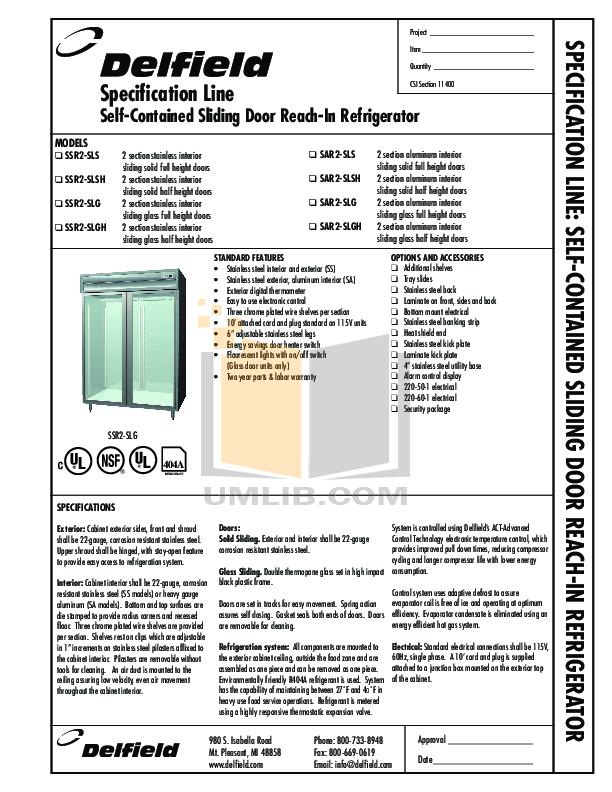 pdf for Delfield Refrigerator SAR2-SLGH manual