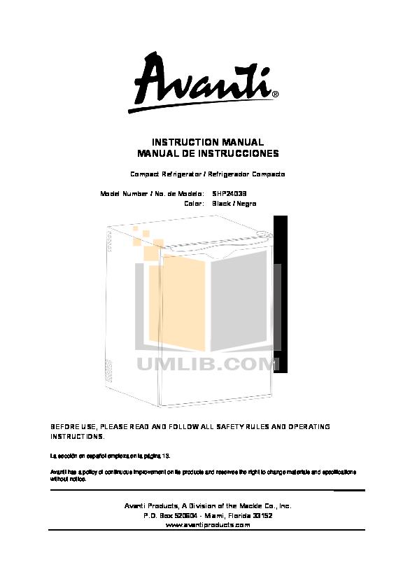 pdf for Avanti Refrigerator SHP2403B manual
