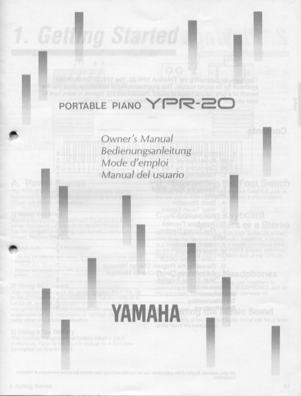 pdf for Yamaha Music Keyboard YPR-50 manual