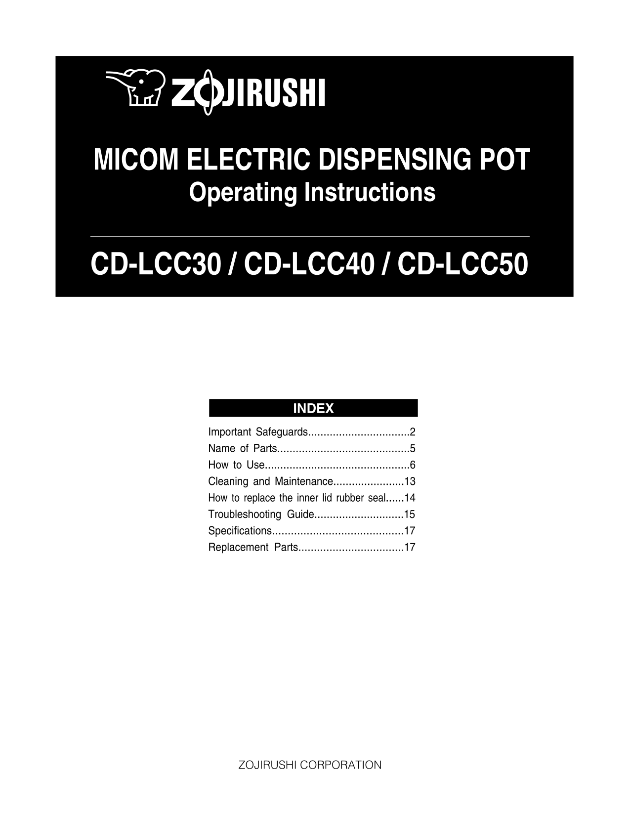 pdf for Zojirushi Other CD-LCC40 Electric Dispensing Pot manual