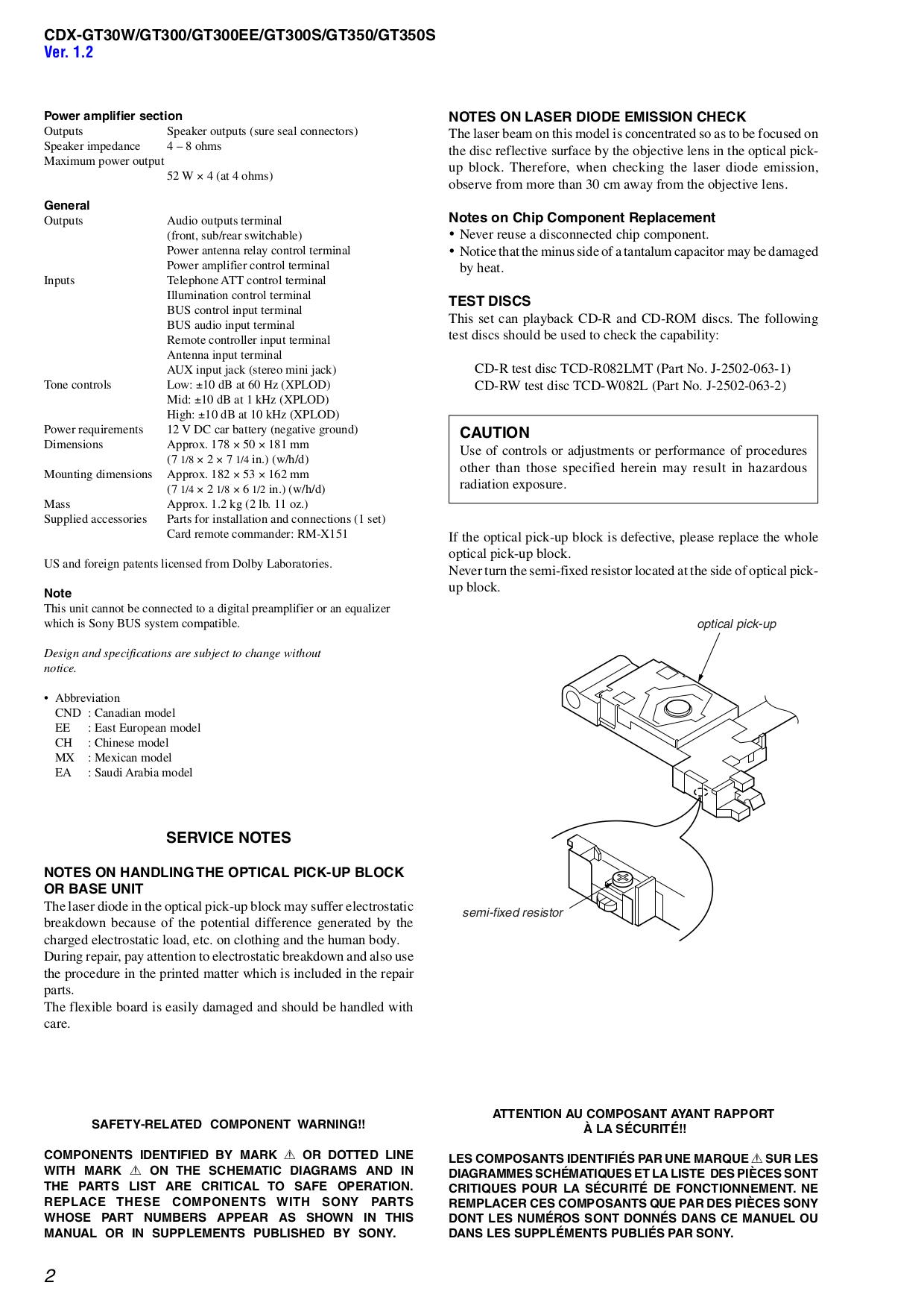 ... Sony Car Receiver Xplod CDX-GT30W pdf page preview ...
