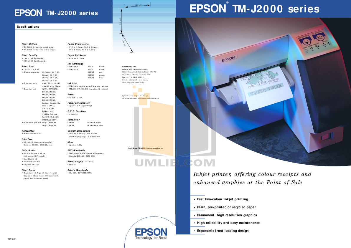 pdf for Epson Printer TM-J2100 manual