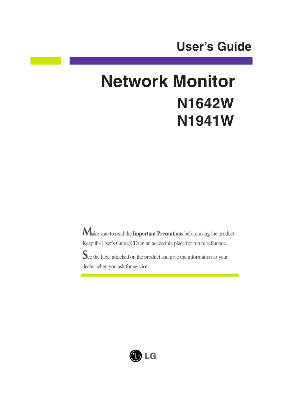 pdf for LG Monitor N1941W manual