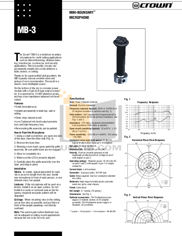 pdf for Crown Other MB-200 Microphones manual