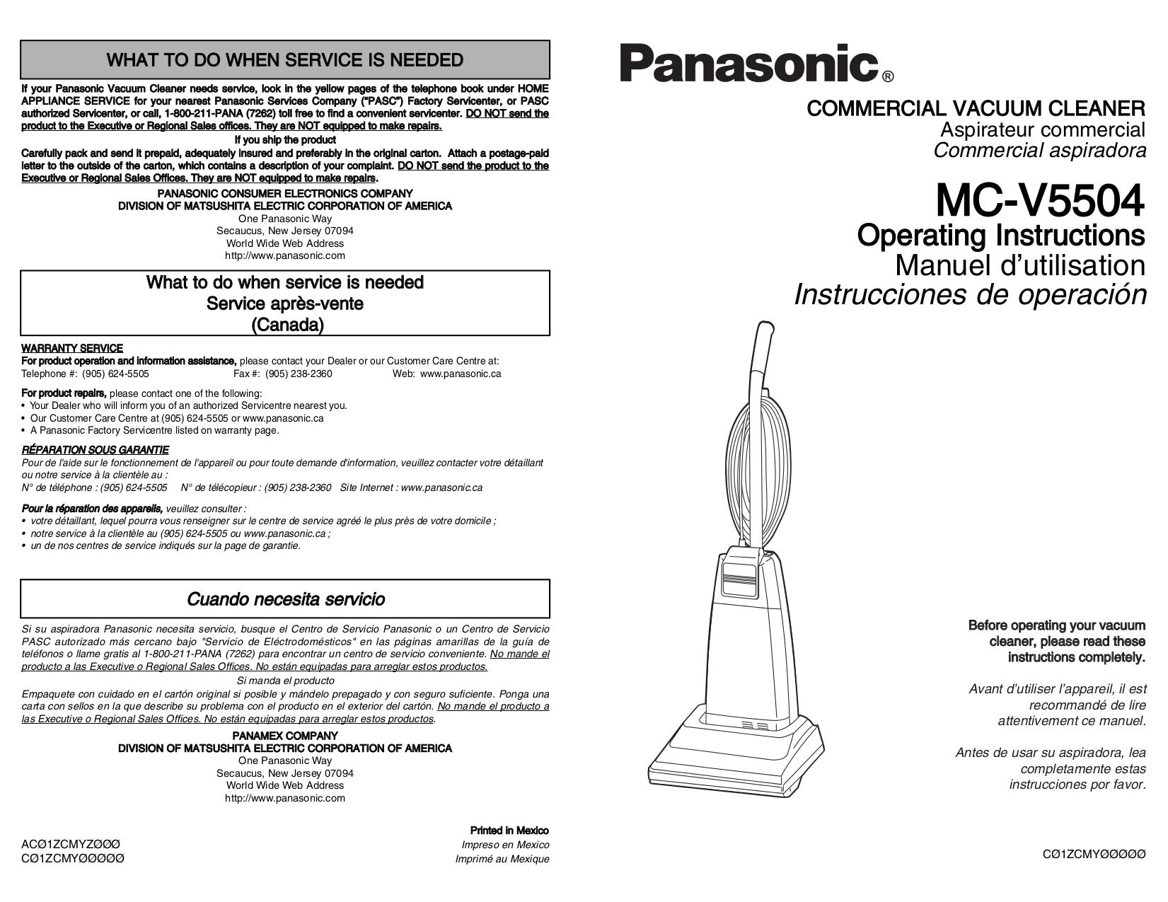 pdf for Panasonic Vacuum MC-V5504 manual