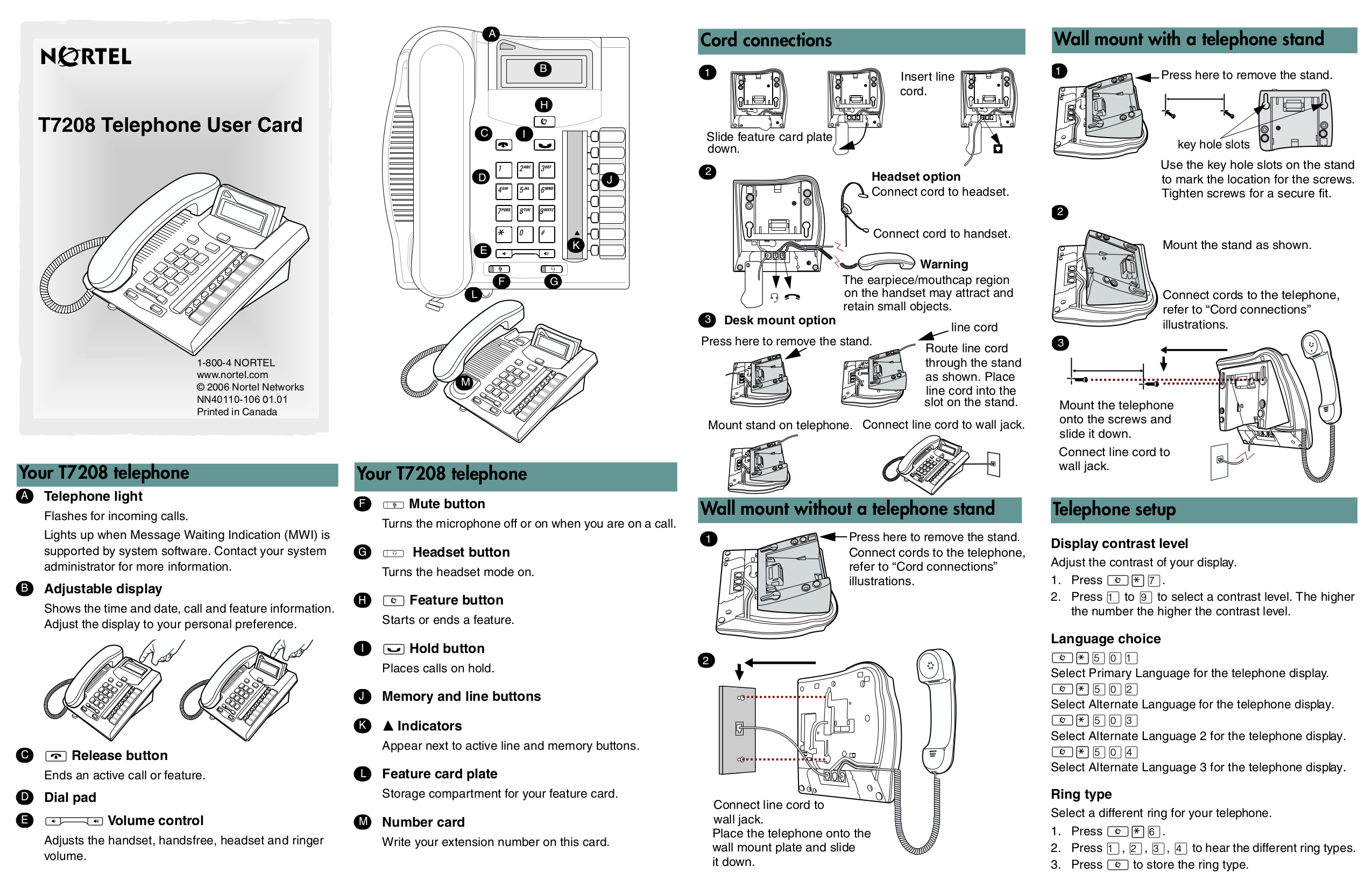 Download free pdf for Nortel T7208 Telephone manual