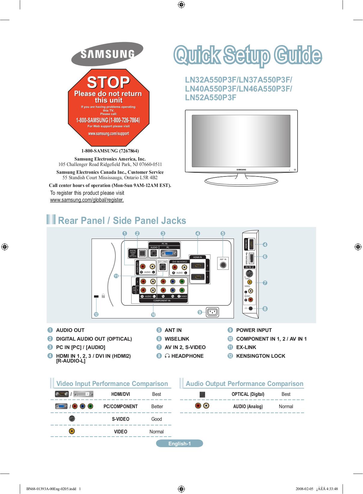 LN52A550 MANUAL PDF