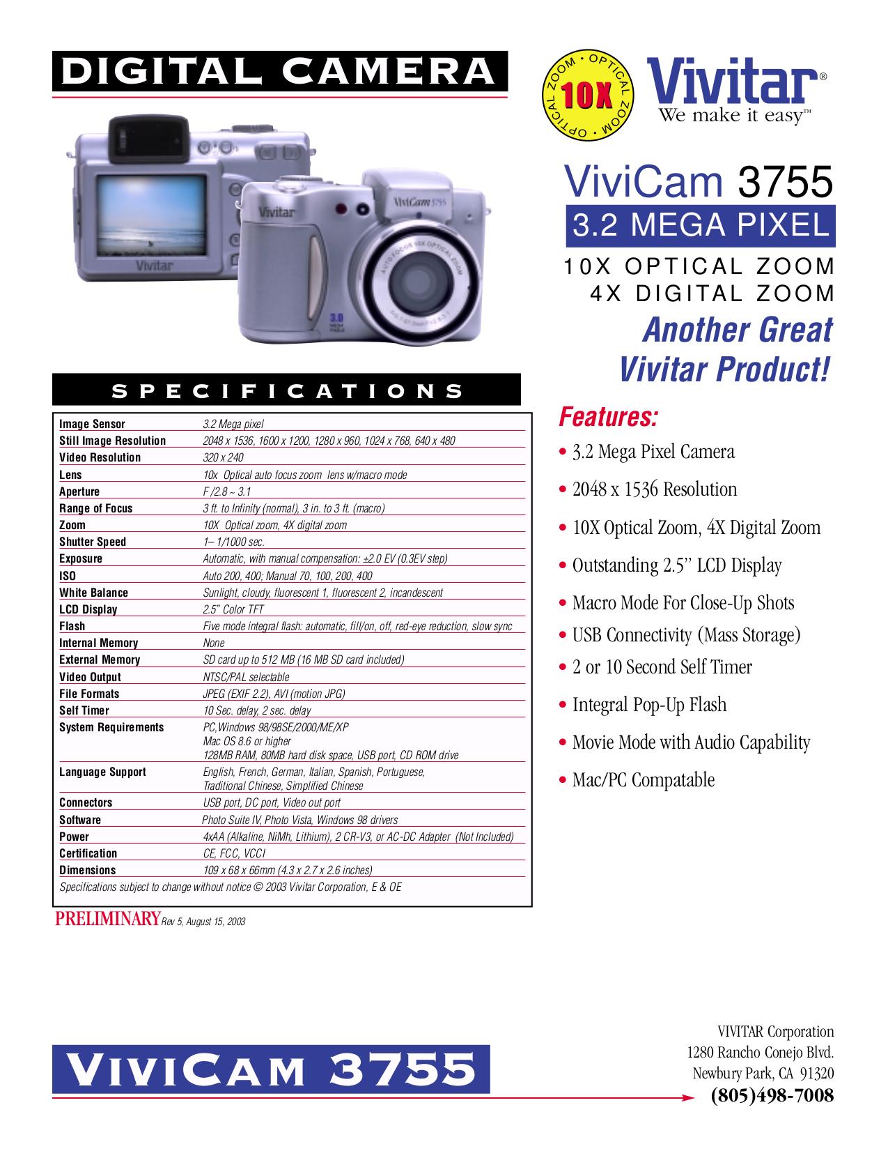 pdf for Vivitar Digital Camera Vivicam 3755 manual