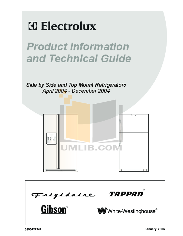 pdf for Frigidaire Refrigerator FRS26W2BSB9 manual