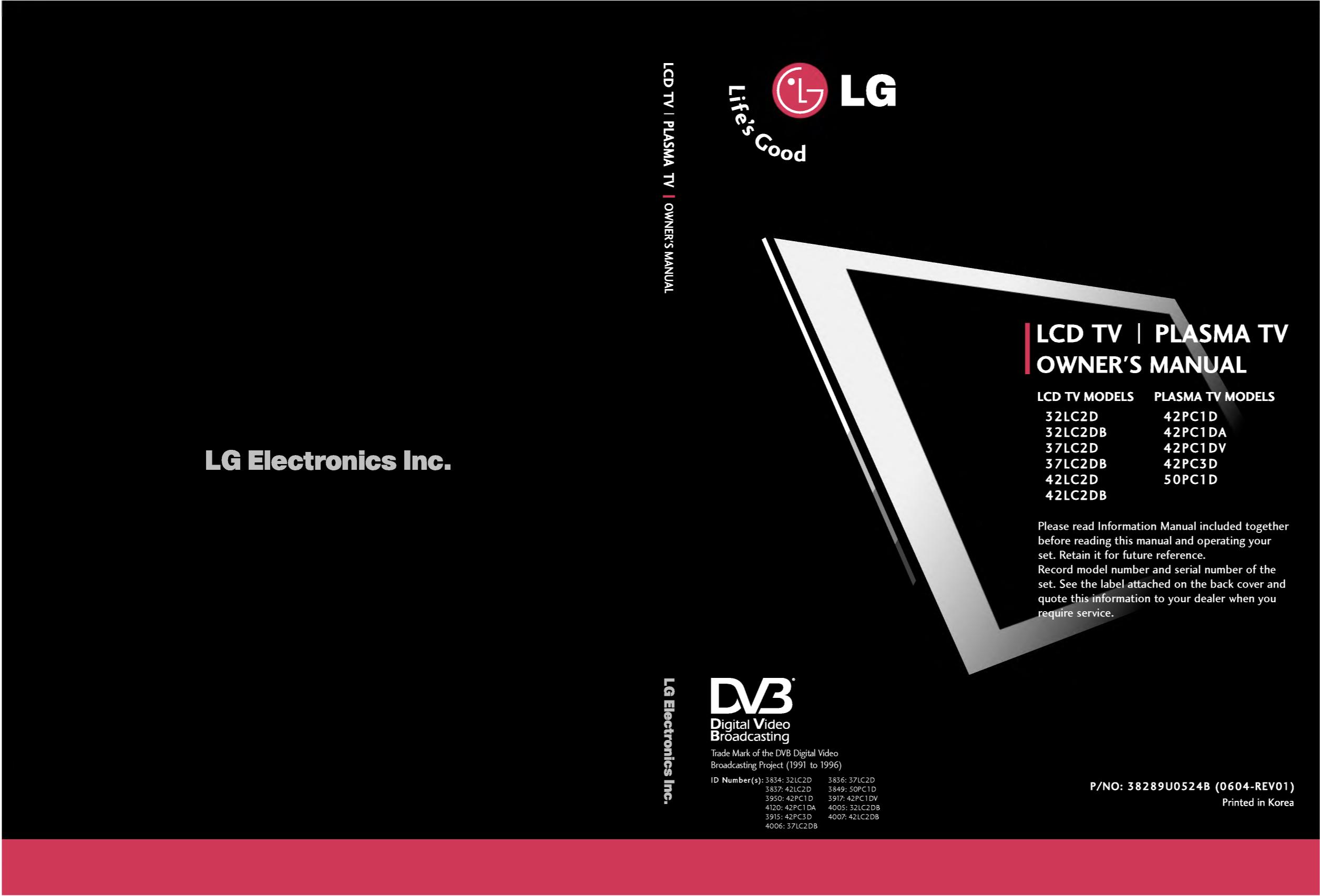 pdf for LG TV 42LC2D manual