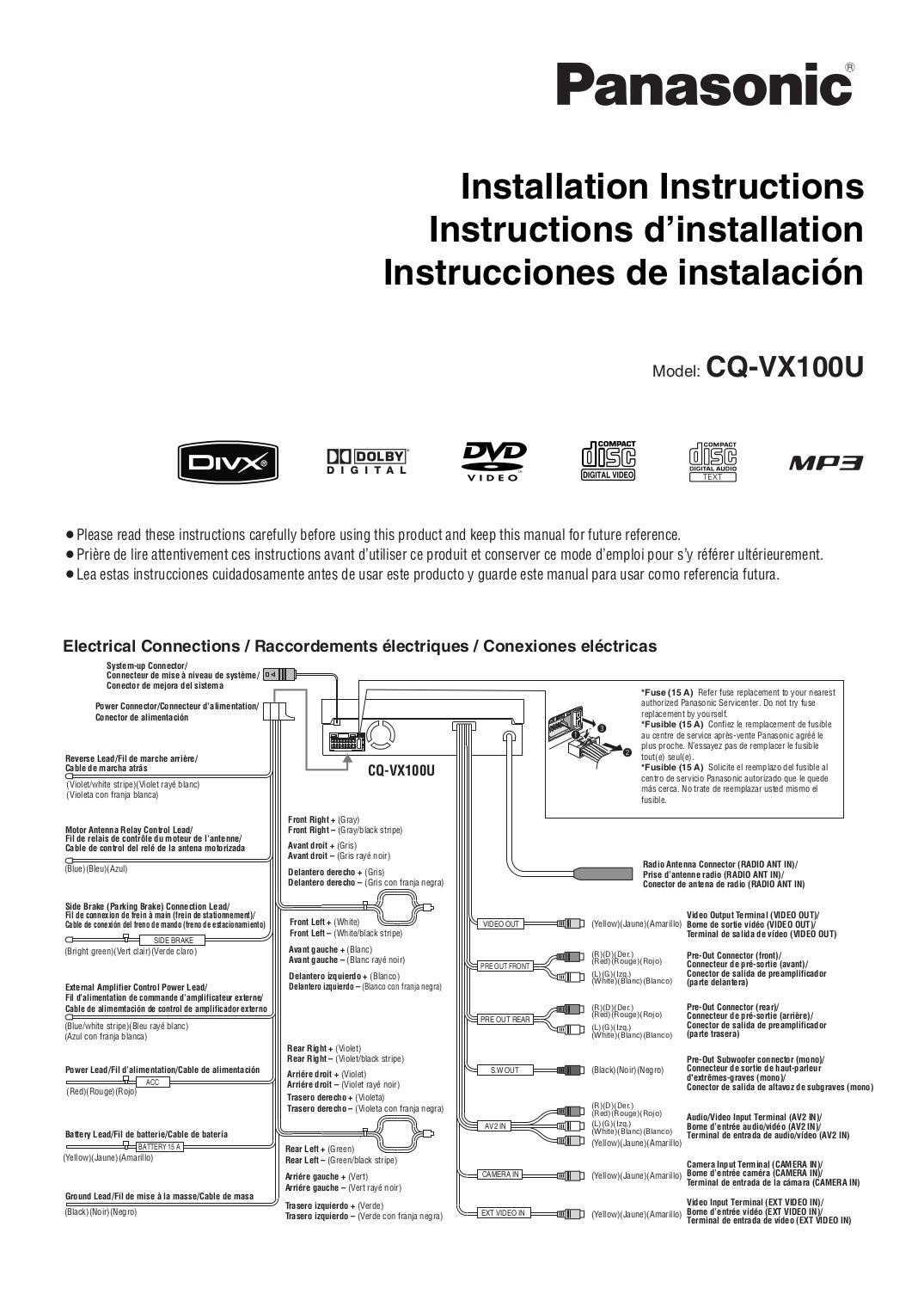 Panasonic Cq Vx100u Wiring Diagram Free Download Cqcp137u Pdf Manual For Car Video Radio Wire Colors At