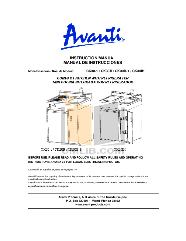 pdf for Avanti Refrigerator CK30IH manual