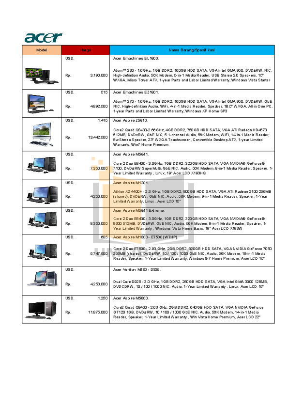 pdf for Acer Desktop Aspire M1201 manual