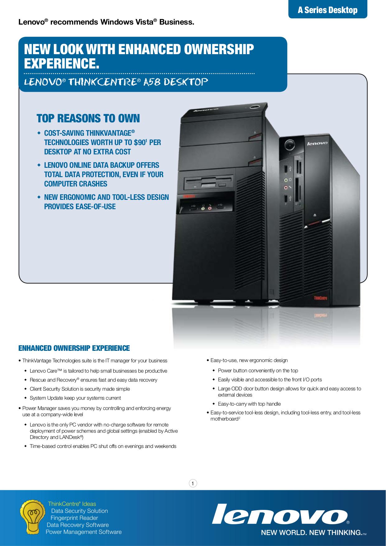 pdf for Lenovo Desktop ThinkCentre A58 7569 manual