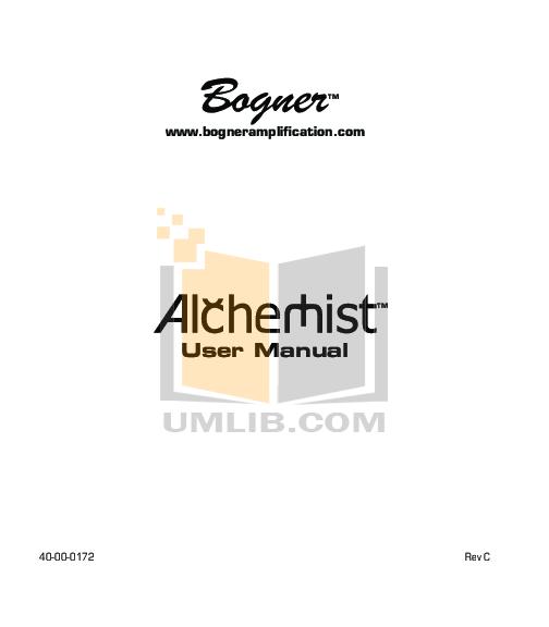 pdf for Bogner Amp Alchemist 212 manual