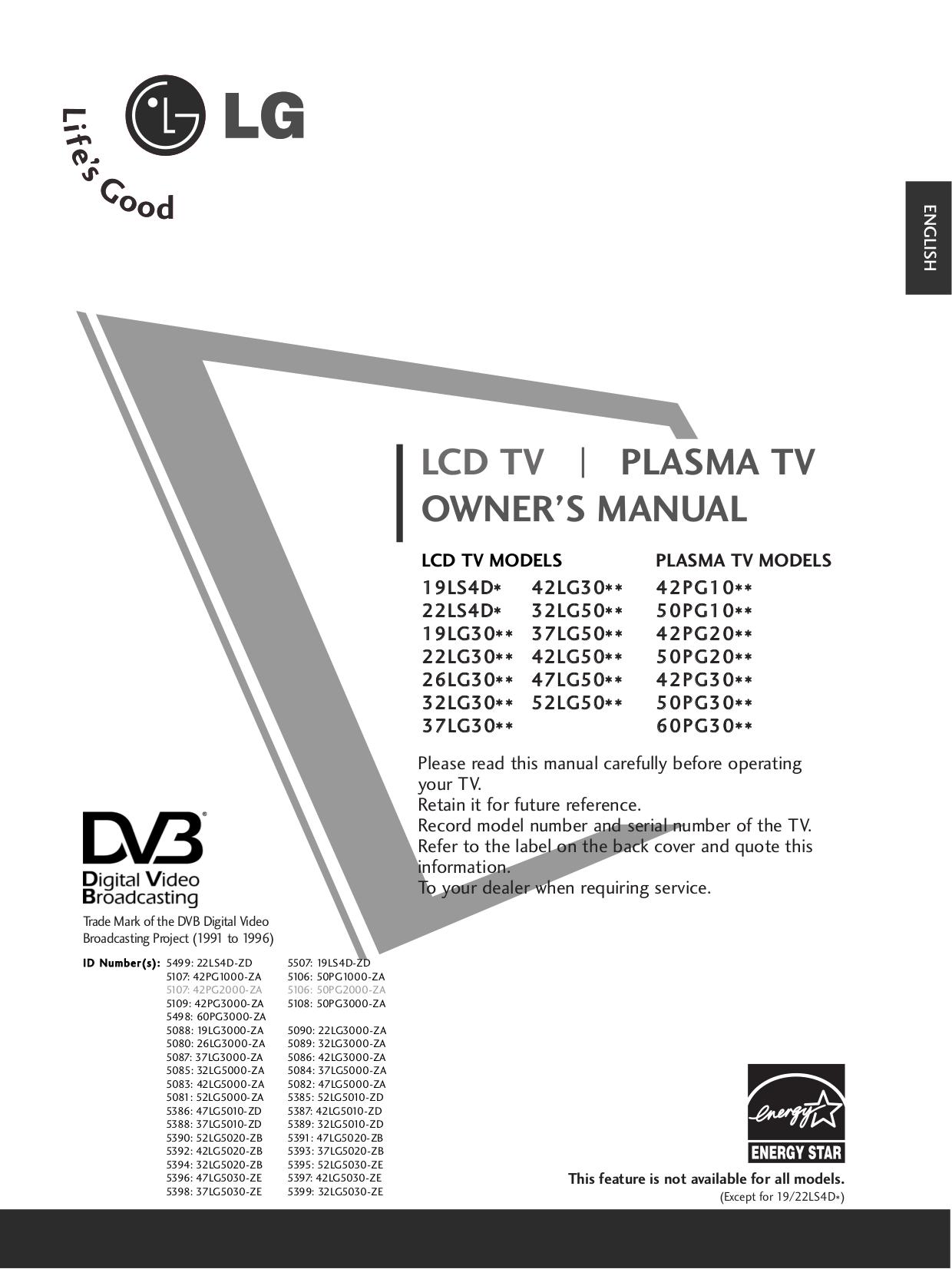 pdf for LG TV 32LG3000 manual
