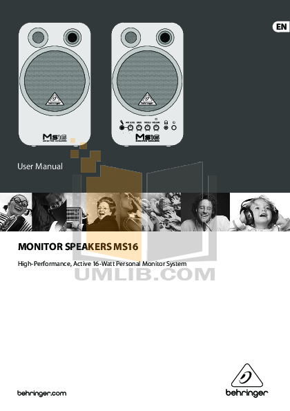 pdf for Behringer Speaker MS16 manual