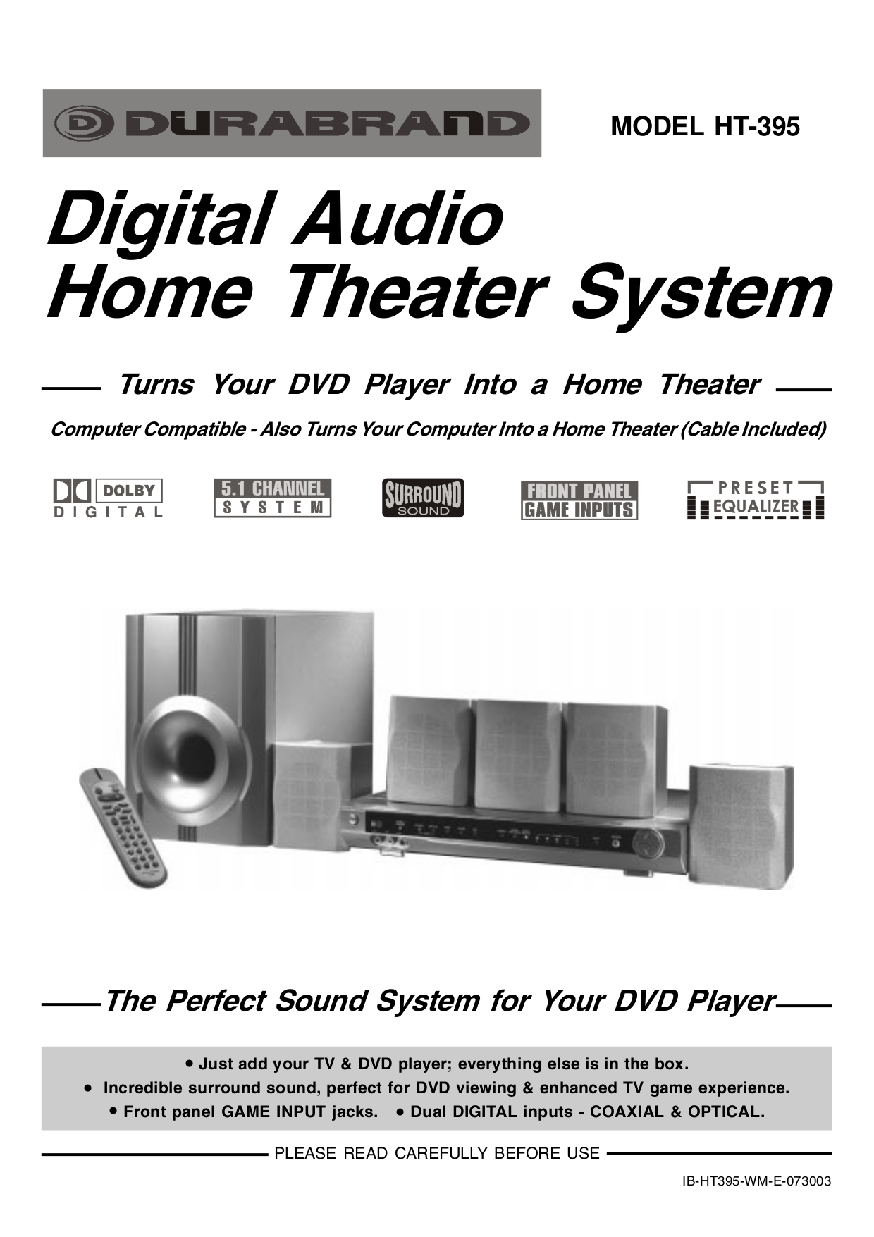 pdf for Lenoxx Home Theater HT-395 manual
