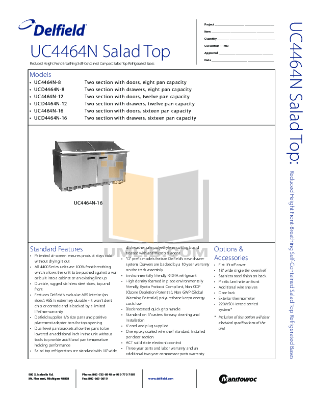 Delfield Refrigerator UC4464N-16 pdf page preview