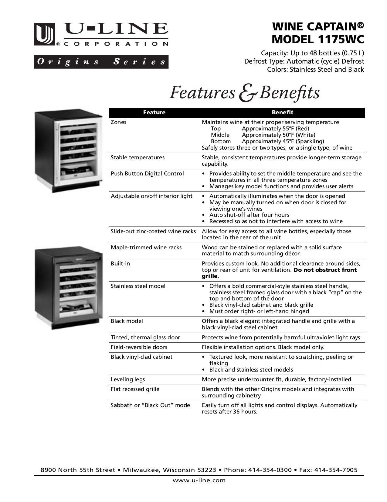 pdf for U-Line Refrigerator Origins 1175WC manual