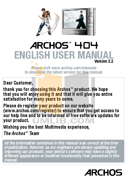 pdf manual for archos camcorders 404 rh umlib com