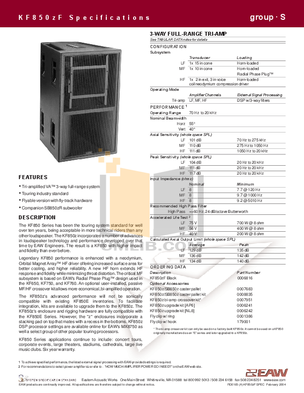 pdf for Eaw Speaker System KF800 manual