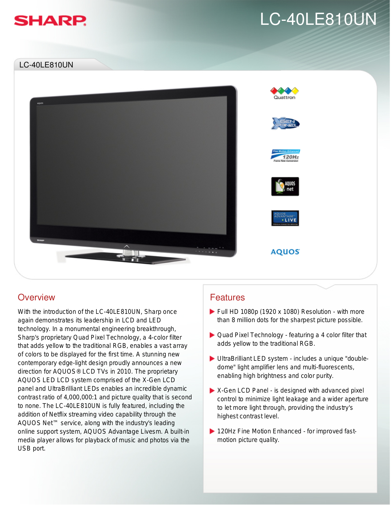 download free pdf for sharp aquos lc 40le810un tv manual rh umlib com sharp aquos quattron lc-40le810un manual Sharp AQUOS Quattron 60 LED HDTV Model Newest