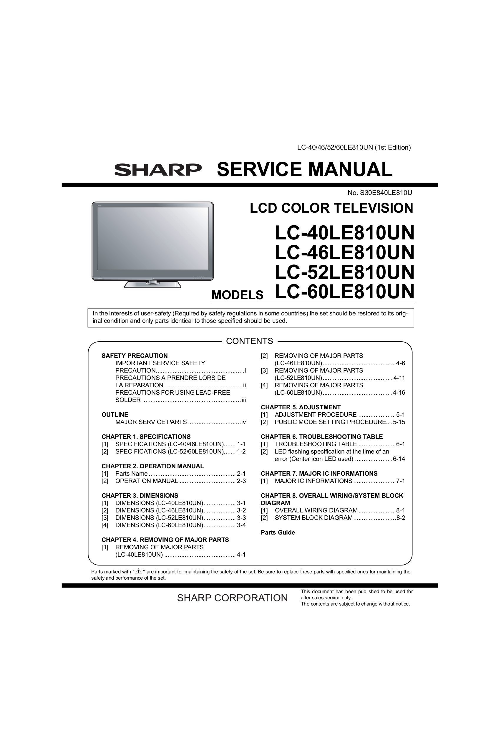 download free pdf for sharp aquos lc 40le810un tv manual rh umlib com Sharp AQUOS Quattron 60 LED HDTV Model Newest Sharp AQUOS Quattron 60 LED HDTV Model Newest