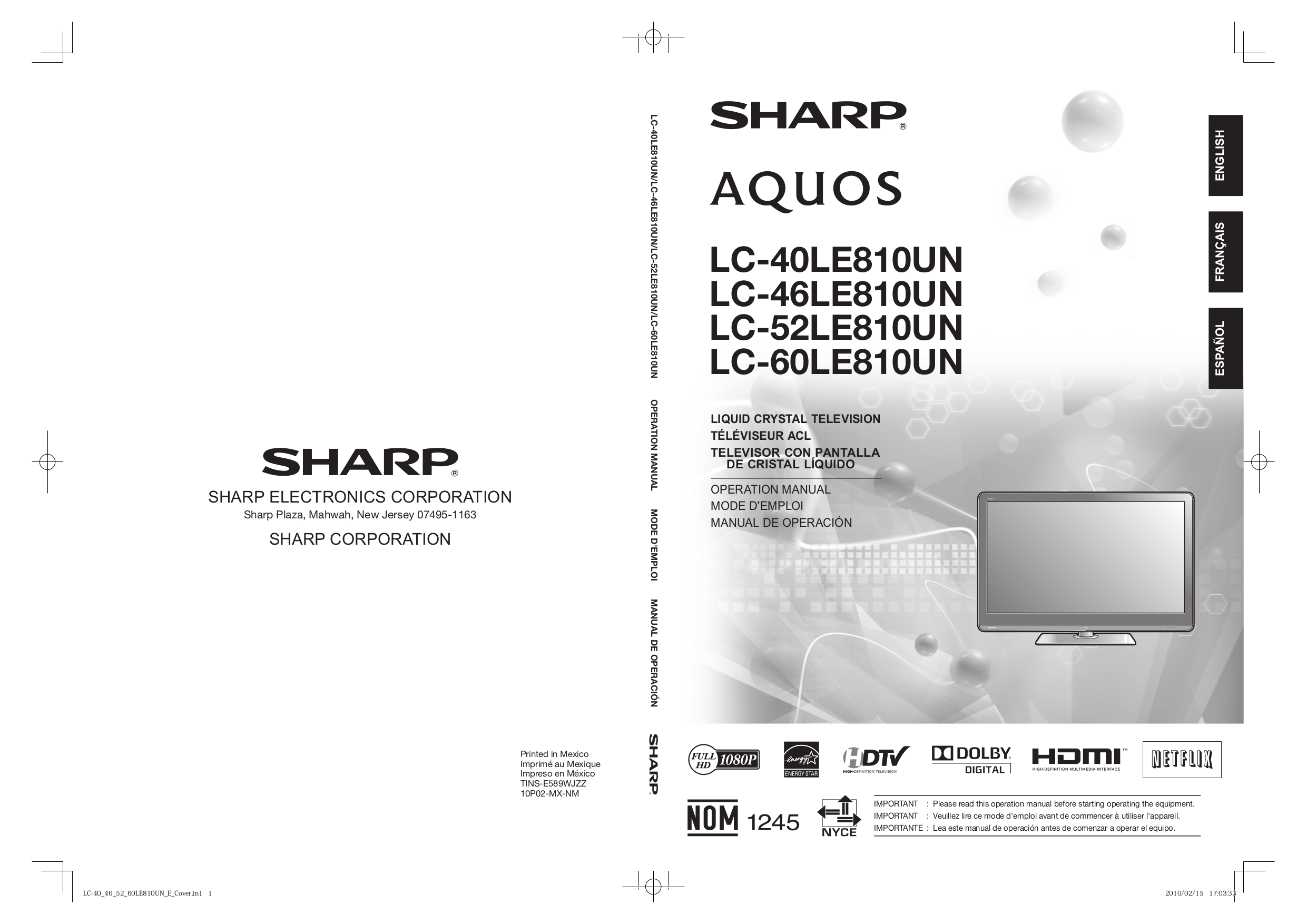 download free pdf for sharp aquos lc 40le810un tv manual rh umlib com Sharp AQUOS Wall Mounted TV Sharp Aquos TV