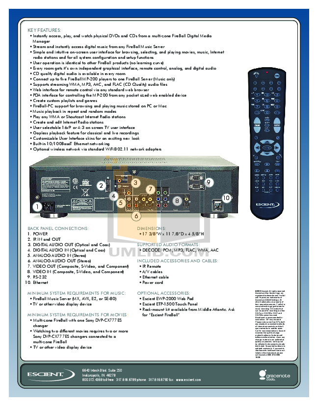 Escient Other EWP-2000 Remote Control pdf page preview