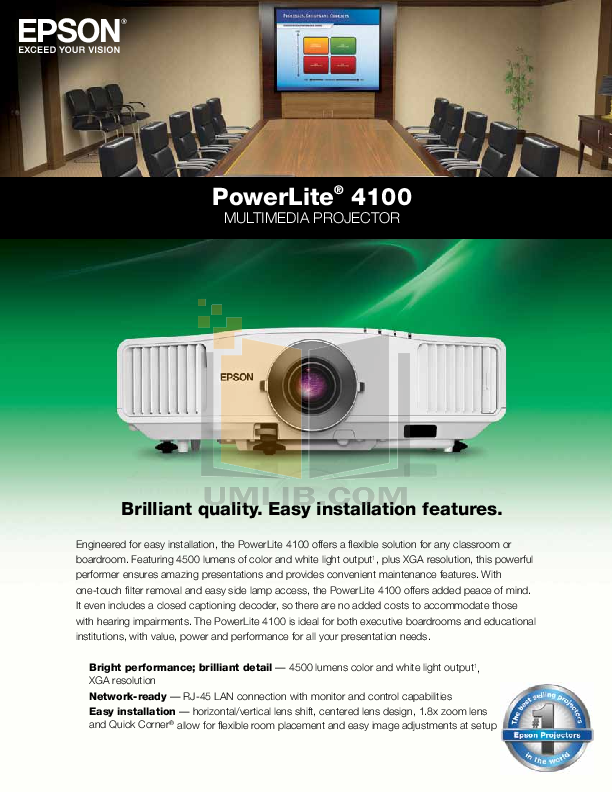 pdf for Epson Projector PowerLite 4100 manual