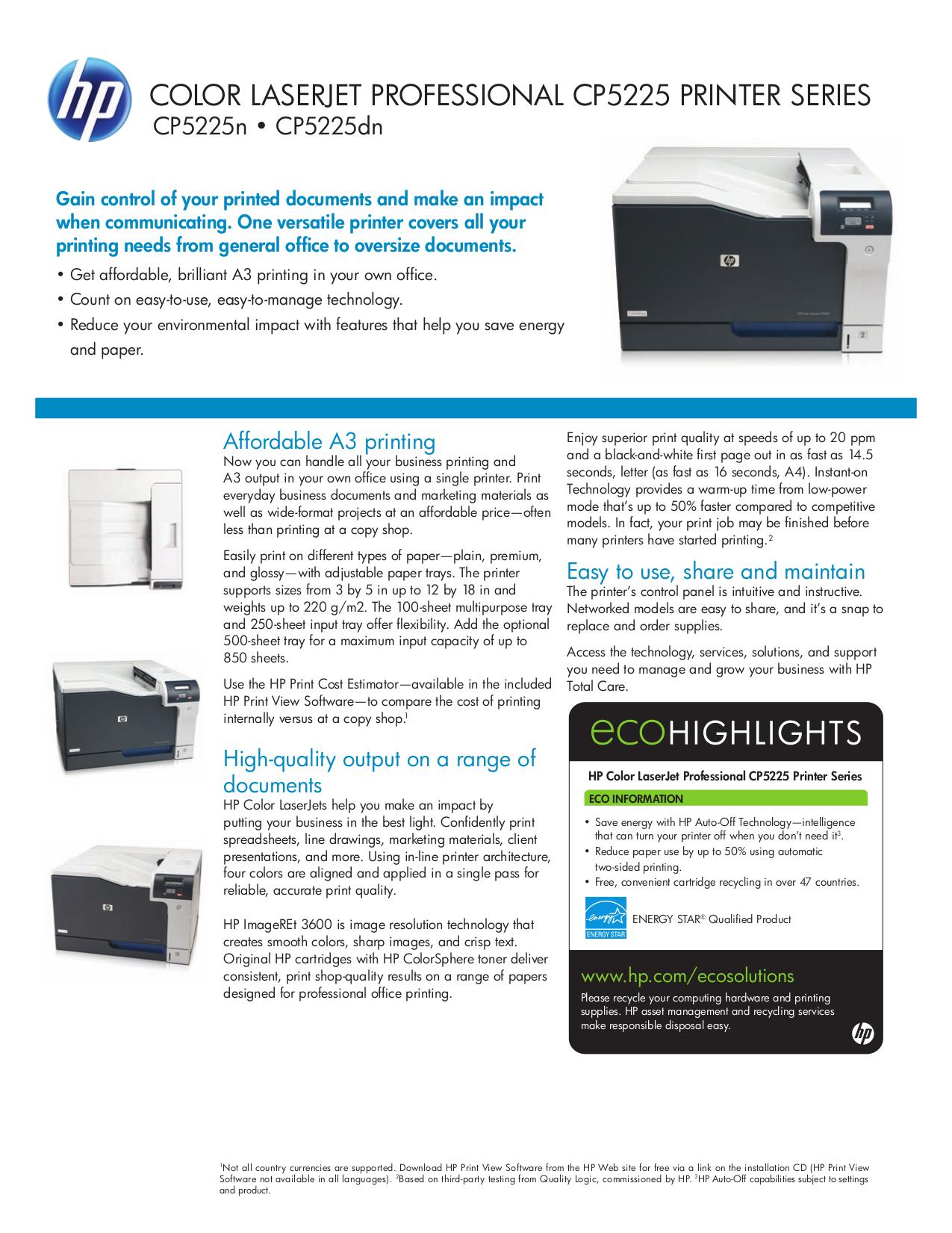 download free pdf for hp laserjet color laserjet pro cp5225n printer rh umlib com HP 3800 Printer HP 1525 Printer