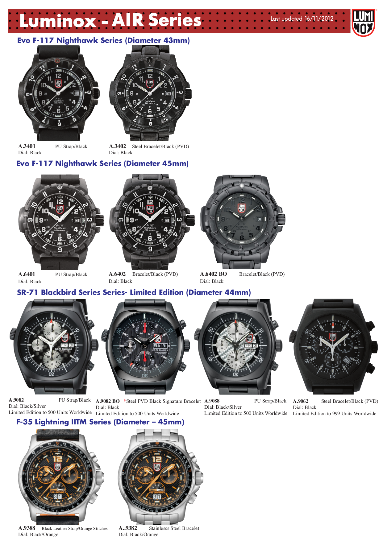 pdf for Luminox Watch EVO F-117 Nighthawk 6402 manual