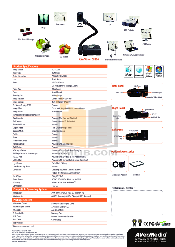pdf for Avermedia Other AverVision CP300 Projector-Accessory manual