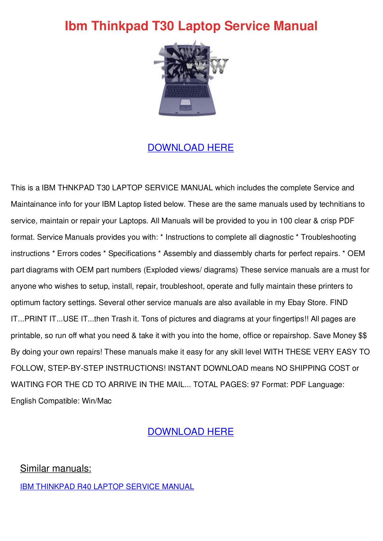 pdf for IBM Laptop ThinkPad A22e manual