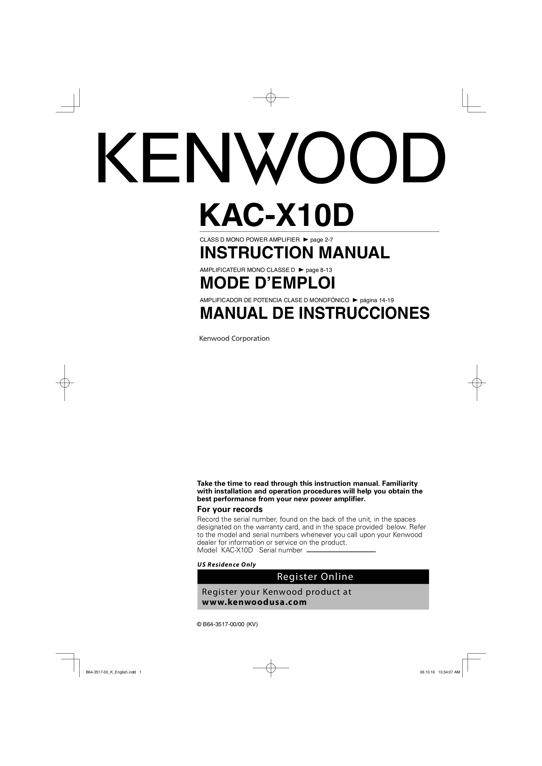 Power Car Amplifier Wiring Diagram Pdf Library Automotive Diagrams For Kenwood Kac X10d Manual