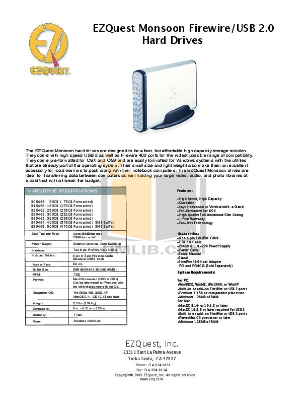 pdf for Ezquest Storage Monsoon B25462 manual