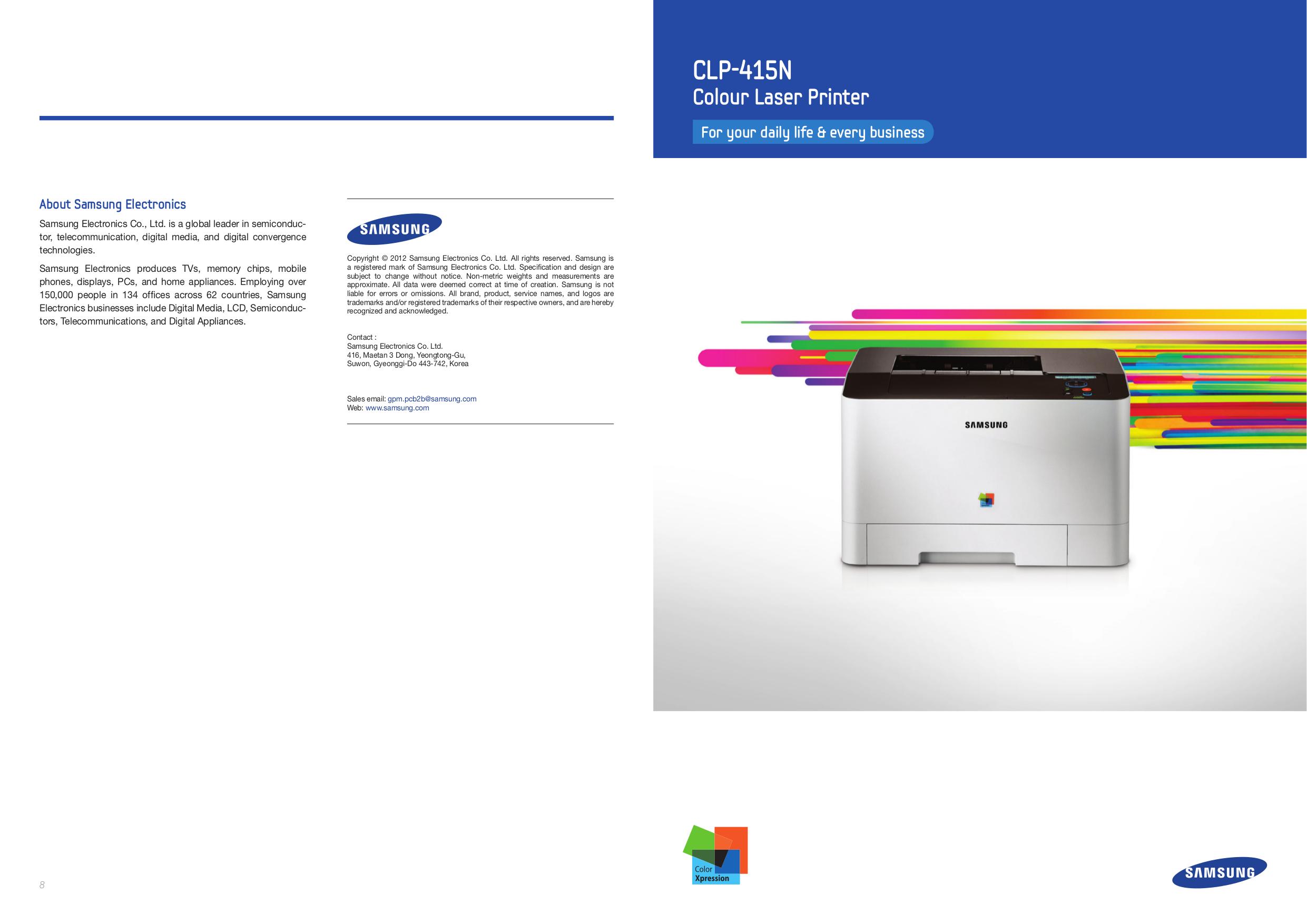 pdf for Samsung Printer CLP-600 manual