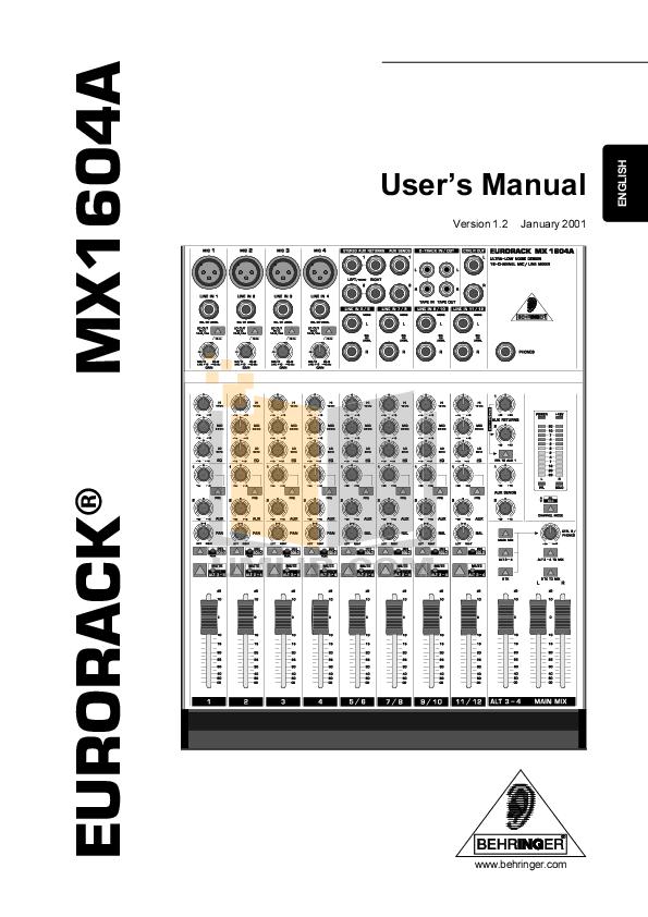 download free pdf for behringer eurorack mx1604a mixers other manual rh umlib com behringer mixer review behringer mixer manuals pmps518s