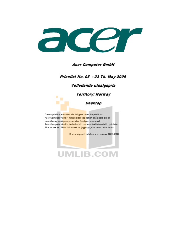 pdf for Acer Desktop Veriton 7700G manual