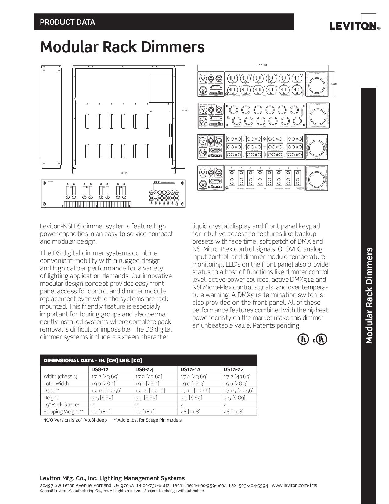 Download free pdf for Leviton Topaz 12 Dimmer Racks Other manual