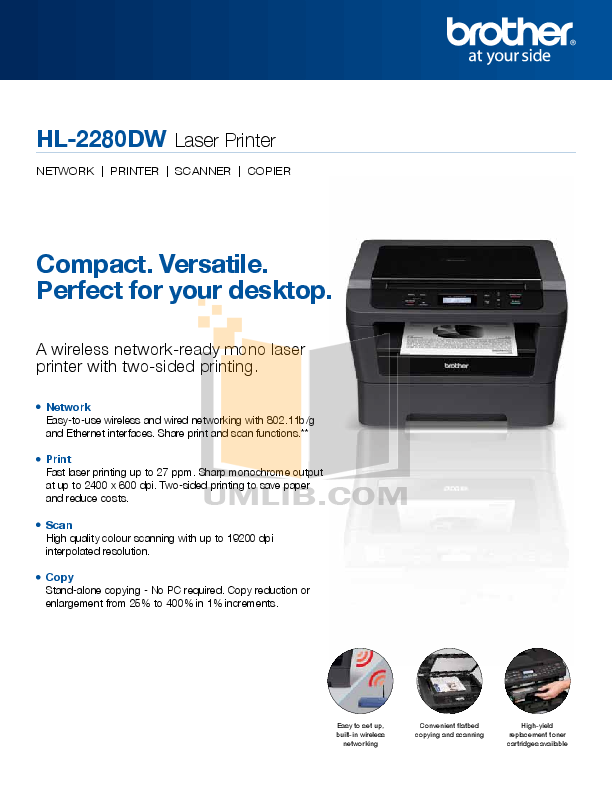 pdf for Brother Printer HL-2280DW manual