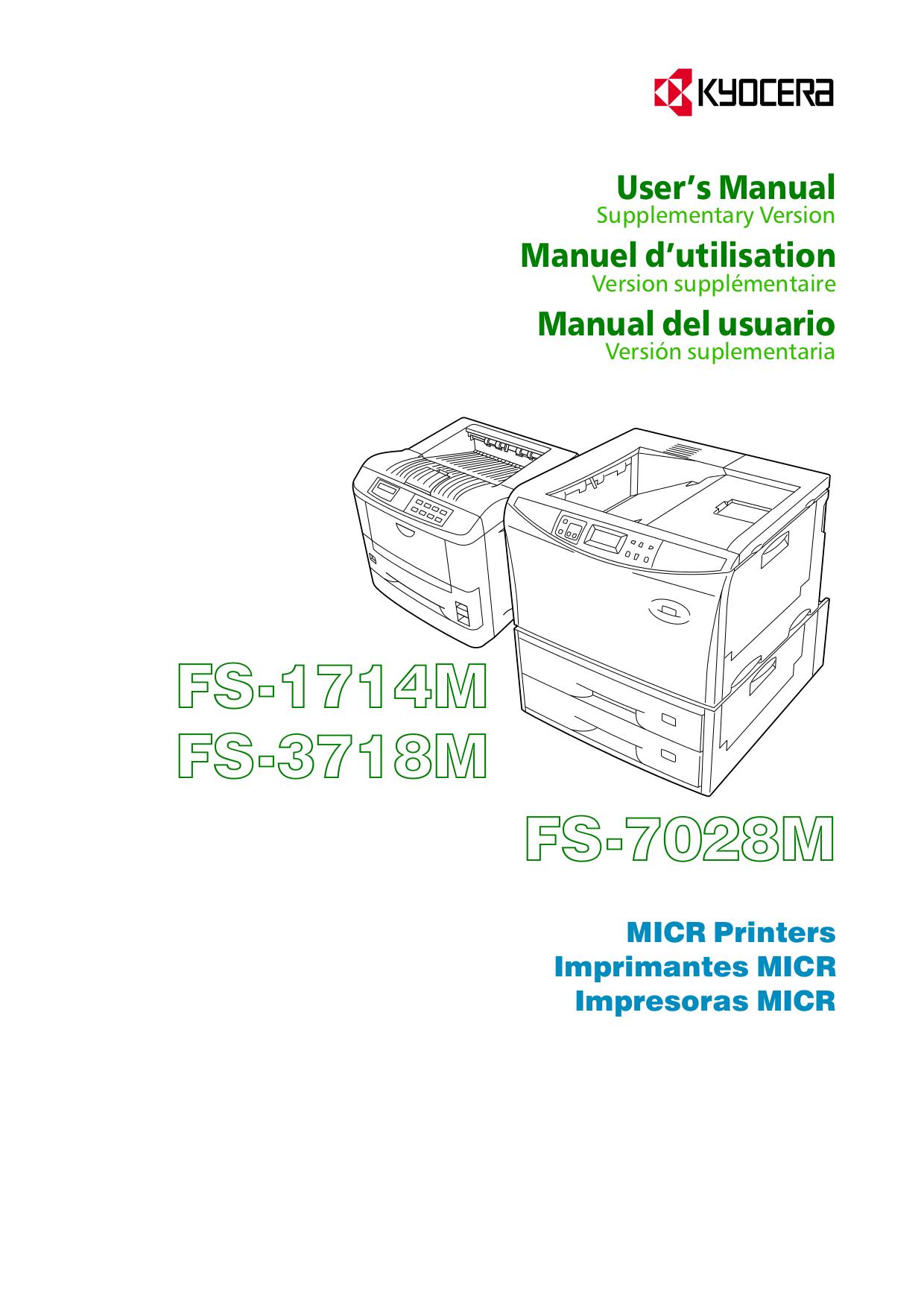 pdf for Kyocera Printer FS-3718M manual