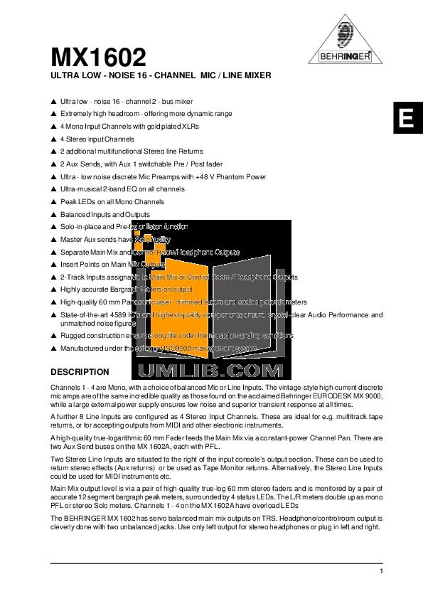 behringer eurodesk sx4882 pdf
