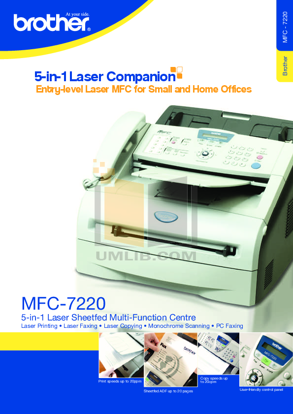 Brother mfc-7220 user manual   16 pages   also for: mfc-7225n, mfc.
