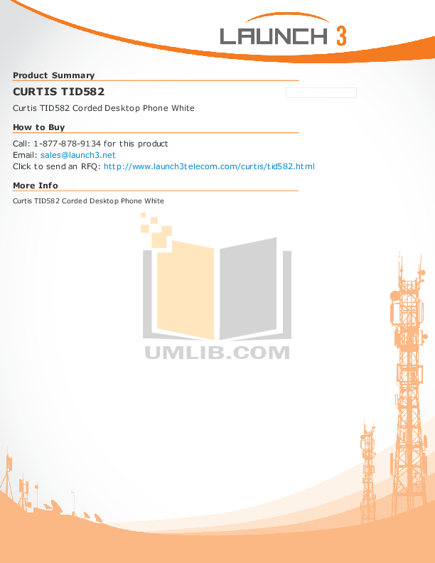 pdf for Curtis Telephone TID582 manual