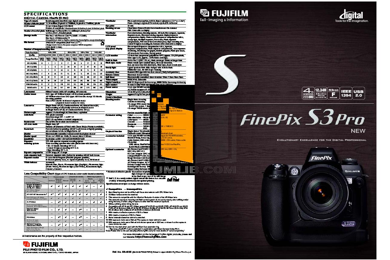 Инструкция к fujifilm s3 pro
