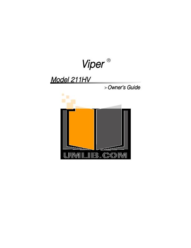 Viper 211hv manual on