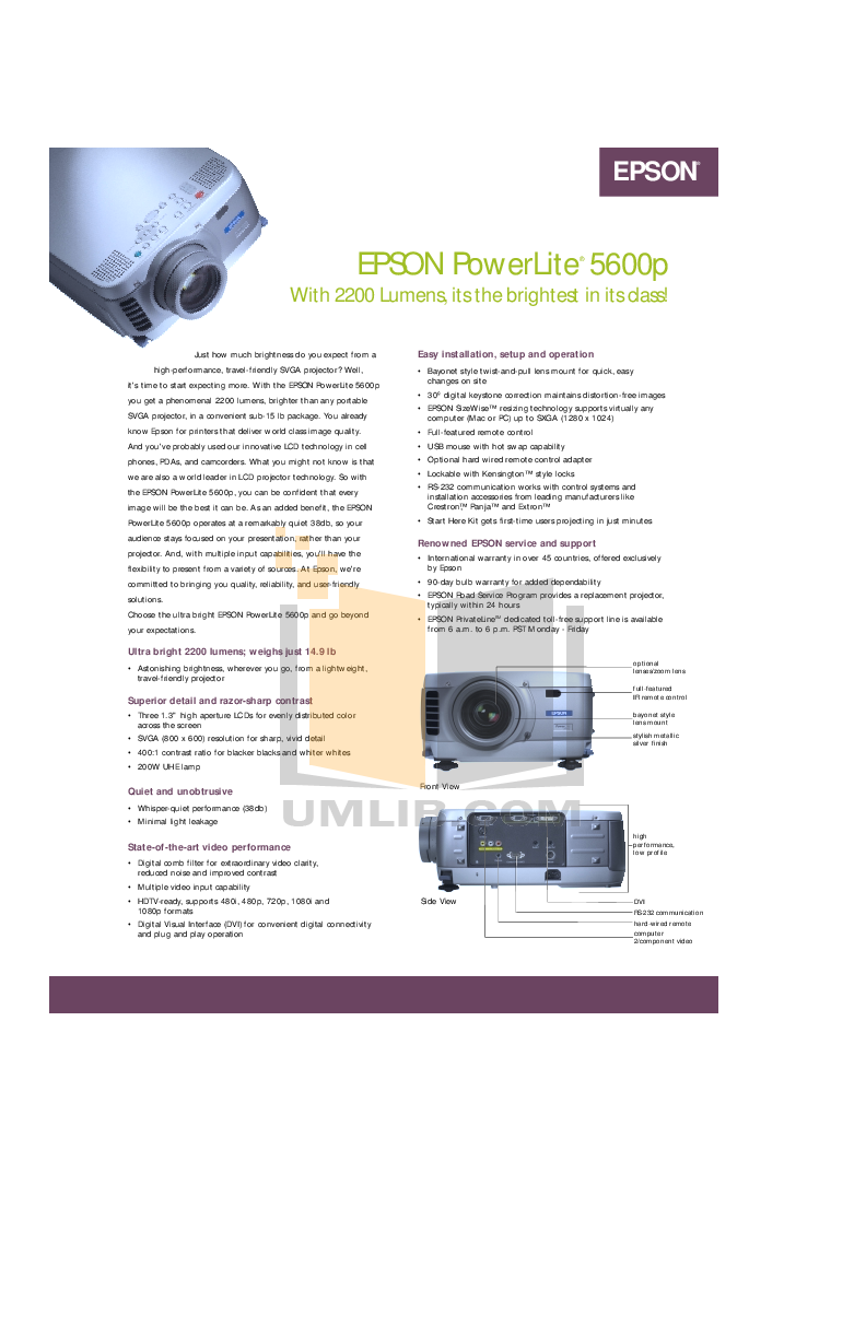 pdf for Epson Projector EMP-5600 manual