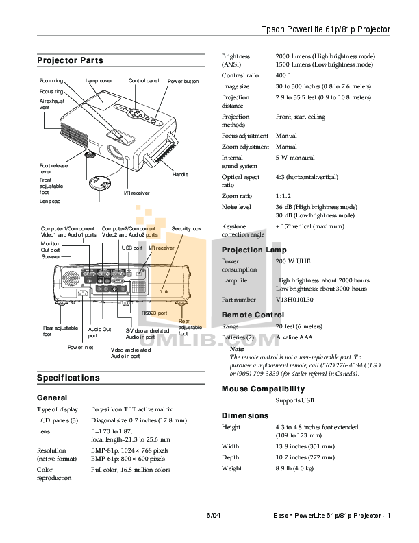 pdf for Epson Projector PowerLite 61p manual